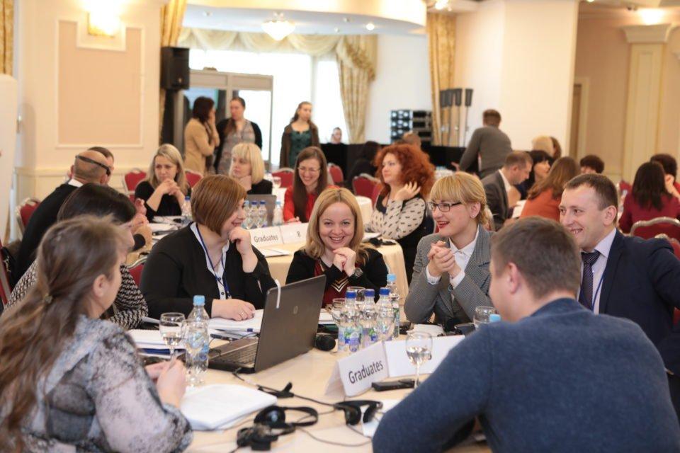 Випускники програми з питань судового адміністрування під час зустрічі «Підсумки та плани на майбутнє» 22 березня 2017 року в Києві ФОТО: Програма USAID «Нове правосуддя»