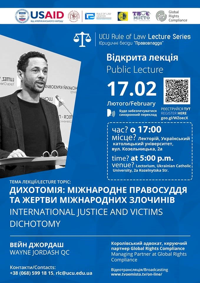 WAYNE JORDASH DELIVERS RULE OF LAW LECTURE AT UKRAINIAN CATHOLIC UNIVERSITY